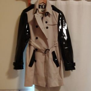 Burberry trench coat with patent leather sleeves